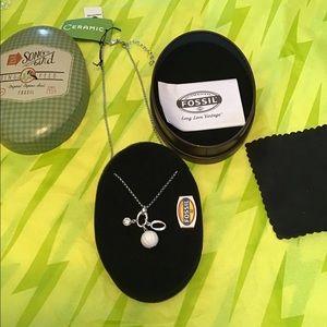 """Fossil necklace, NIB, .925, rodium, ceramic, 18"""""""